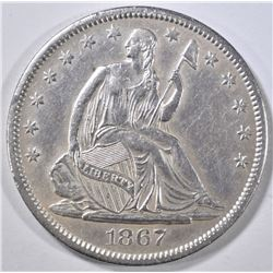 1867-S SEATED LIBERTY HALF DOLLAR CH AU
