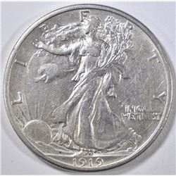 1919-S WALKING LIBERTY HALF DOLLAR AU SCARCE DATE