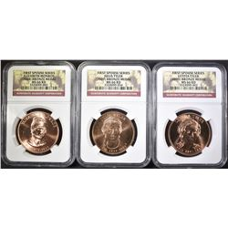 3-NGC GRADED MS-66 RED FIRST SPOUSE MEDALS