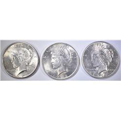 3-NICE UNC PEACE DOLLARS: 2-1922 & 1-25