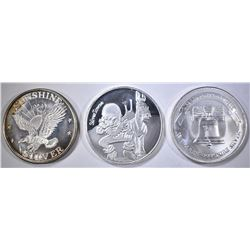 3-DIFFERENT ONE OUNCE .999 SILVER ROUNDS