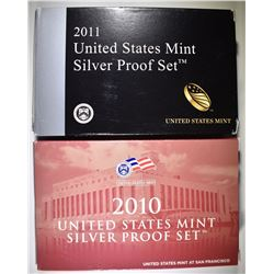 2010 & 2011 U.S. SILVER PROOF SETS ORIG PACKAGING