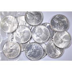 13-BU 1967 SILVER 500 LIRA COINS