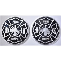 2-FIRE DEPT. ONE OUNCE .999 SILVER ROUNDS