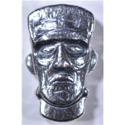 1.5 Oz .999 SILVER POURED 3-D FRANKENSTEIN HEAD
