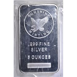 FIVE OUNCE .999 SILVER BAR SUNSHINE MINT