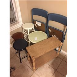 Assortment of Stools, Chairs & Table A