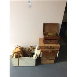 Vintage Wooden Toys & Wood Boxes A
