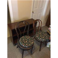 Bookshelf & Antique Chairs
