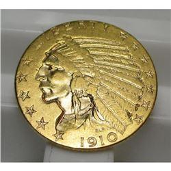 1910  $ 5 Gold Indian Half Eagle