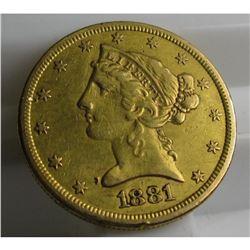 1881 s $5 Gold Liberty Half Eagle