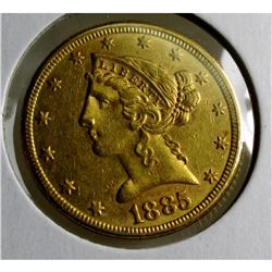 1885 P $5 Good Liberty Half Eagle