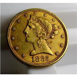 1885 S 4% Gold Liberty Half Eagle