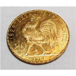 """1908 20 Francs """"Rooster"""" Gold - BU"""