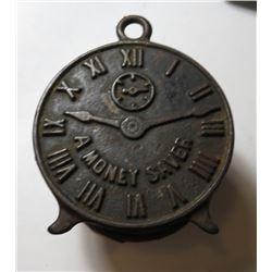 Antique Metal Clock Form Still Penny Bank -