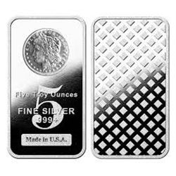 5 oz. Silver Bar w/ Morgan Design .999
