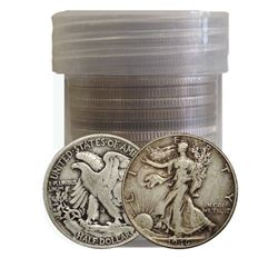 Plastic Roll of (20) Walking Liberty Half Dollars