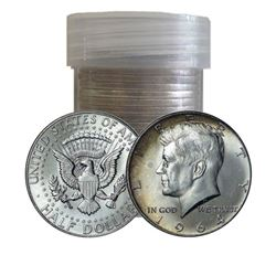Plastic Tube of (20) Kennedy Half Dollars 1964