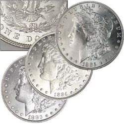 1883-84-85 Brilliant Uncirculated Morgan Dollars