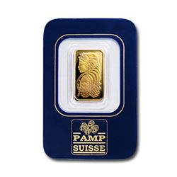2.5 gram Pamp Suisse Gold Bar on Assay Card