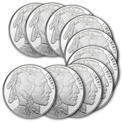 10 pcs. Buffalo Design Silver Rounds - .999 Pure