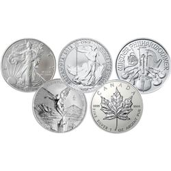 5 pc. 1 oz. World Silver Bullion Lot - Random Year