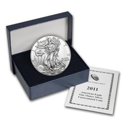 2011 UNC US Silver Eagle in OMB