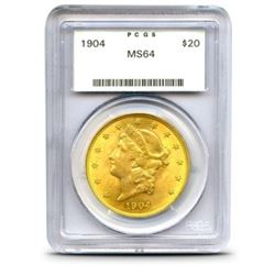 1904 MS 64 PCGS $20 Gold Liberty Coin