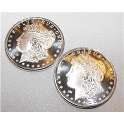 2 pcs. Morgan Dollar  Design Silver Rounds