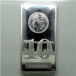 10 oz. Silver Morgan Design Silver Bar .999 Pure