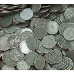 100 pcs. WWII Steel Zinc Wheat Back Cents