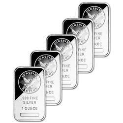 5 pcs. 1 oz. Sunshine Silver Bars