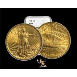 1922 MS 62 NGC $20 Gold Saint Gaudens