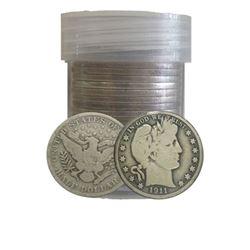 20 pcs Barber Half Dollars in Whitman Tube