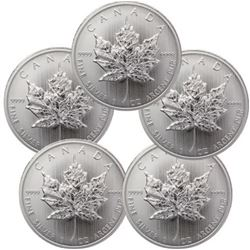 (5) Random Date Silver Maple Leaf's