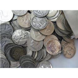 Lot of (50) Mixed Type Random Silver Halves 90%