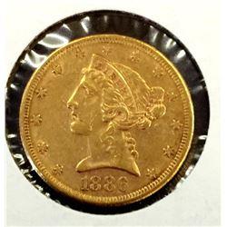 1886 s $ 5 Gold Liberty