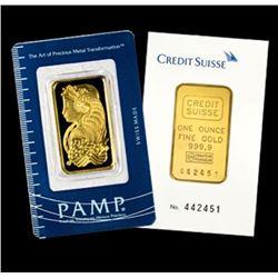 1 oz. Pamp or Credit Suisse Gold Ingot Pure