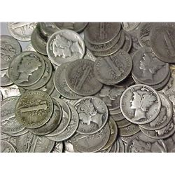 (300) Mercury Dimes - Circulated 90%