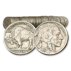 (40 ps) 1 Roll of Full Date Buffalo Nickels