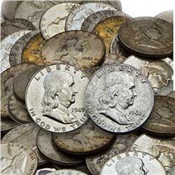 Lot (50) Franklin Half Dollars 90% Silver