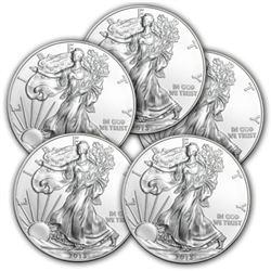 (5) Random Date US Silver Eagles - Crisp BU
