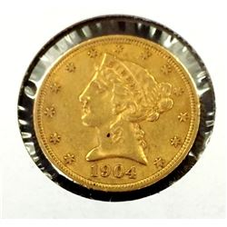 1904 $ 5 Gold Liberty