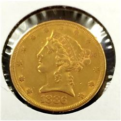 1886 S $5 Gold Liberty