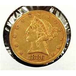1886 $ 5 Gold Liberty