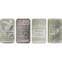Lot of (4) Random Type 1 oz Silver Bars