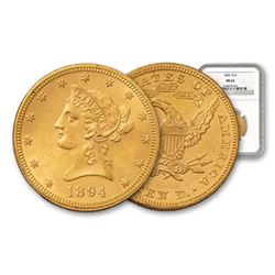 1894 $ 10 Gold Liberty MS 62 NGC or PCGS