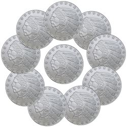 (10) 1 oz Incused Indian Design Silver Rounds