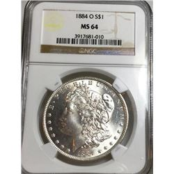 1884-O MS 64 NGC Morgan Dollar