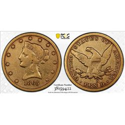 1865 S $10 Gold Liberty NET FINE Genuine Details PCGS